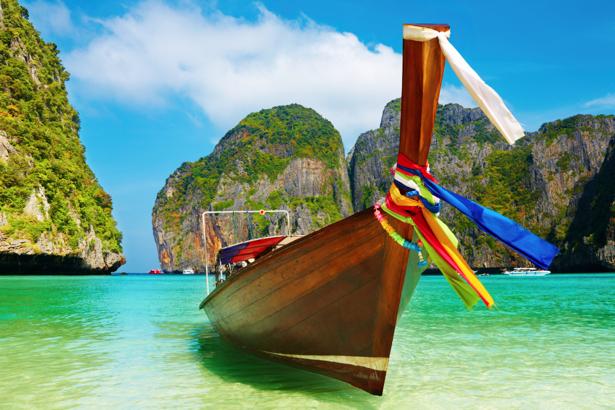 Фотообои яхта на берегу залива в таиланде (transport-0000065)
