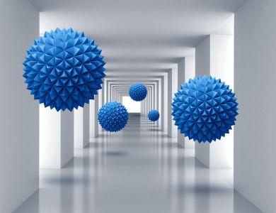 Фотообои Синие сферы в пространстве (3d21)