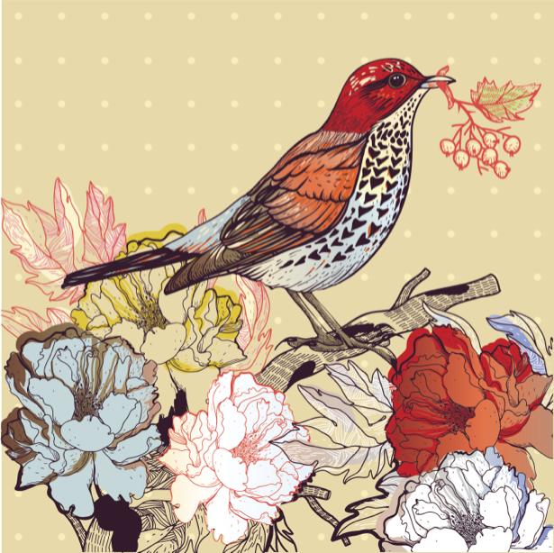 Фотообои Рисованная птица (animals-0000401)