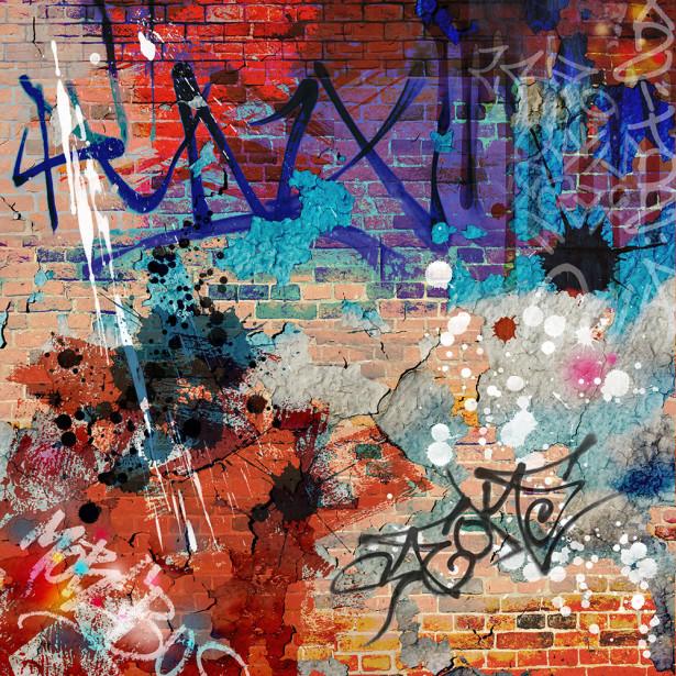 Фотообои A Messy Graffiti Wall (background-390)