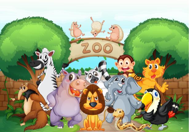 Животные зоопарка Фотообои детские (children-0000263)