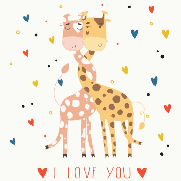 Две влюбленные жирафы фотообои (children-0000281)