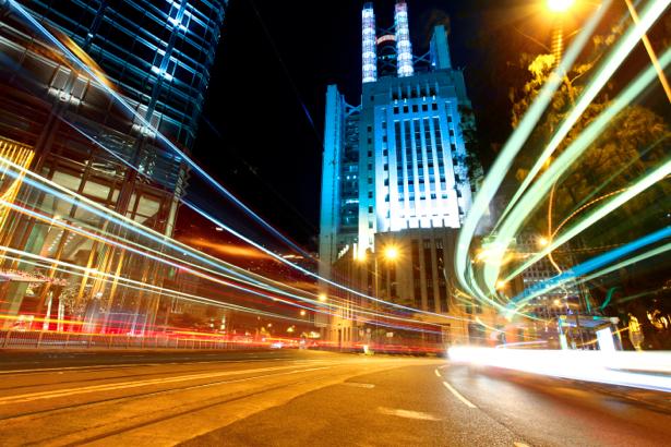 Фотообои Ночной мегаполис, мост, дорога (city-0000285)
