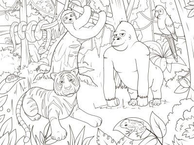 Обои раскраска Животные джунгли (color-16)