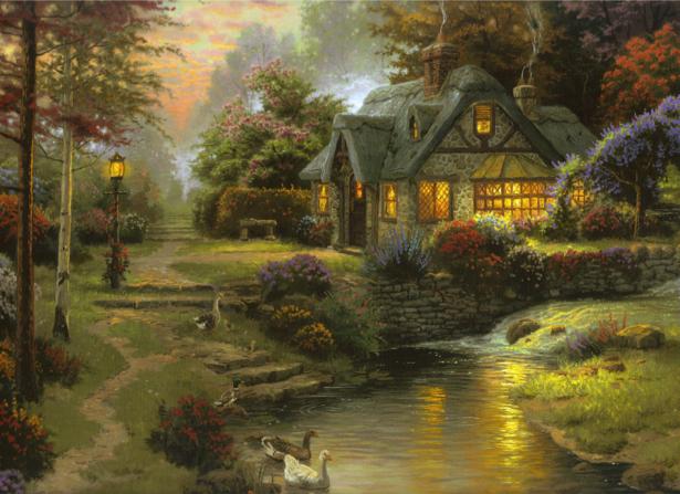 Фотообои деревня в лесу (fantasy-0000045)