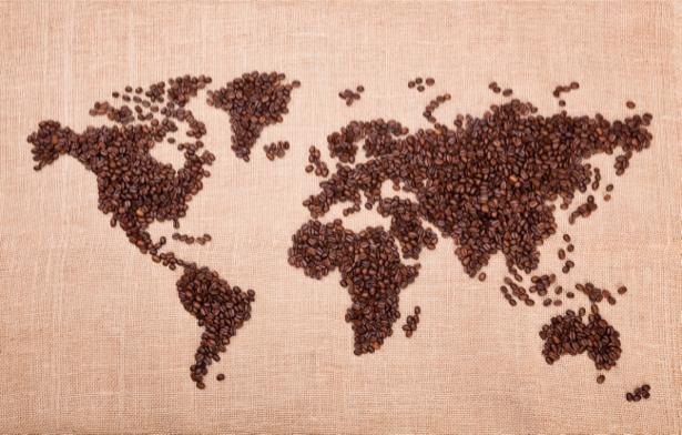 Фотообои карта мира из зерен кофе (food-0000147)