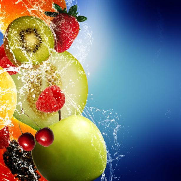 Фотообои кухня фрукты в брызгах воды (food-0000242)