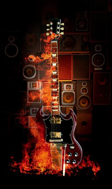 Фотообои музыка гитара в огне (glamour-0000180)