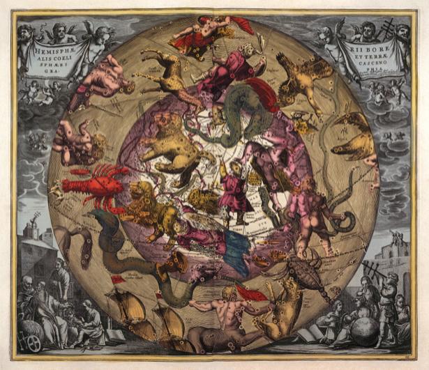 атлас, зодиак, карты, старая карта (map-0000066)