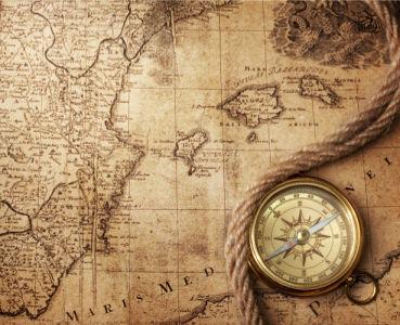 Фотообои старая карта компас веревка (map-0000202)