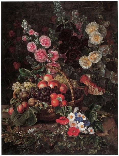 натюрморт с цветами и фруктами Йохан Беггров (pf-67)