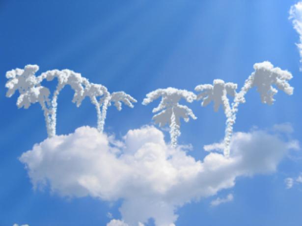 Фотообои пальмы из облаков (sky-0000041)