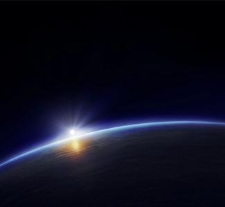 Фотообои космический пейзаж восход (space-0000054)