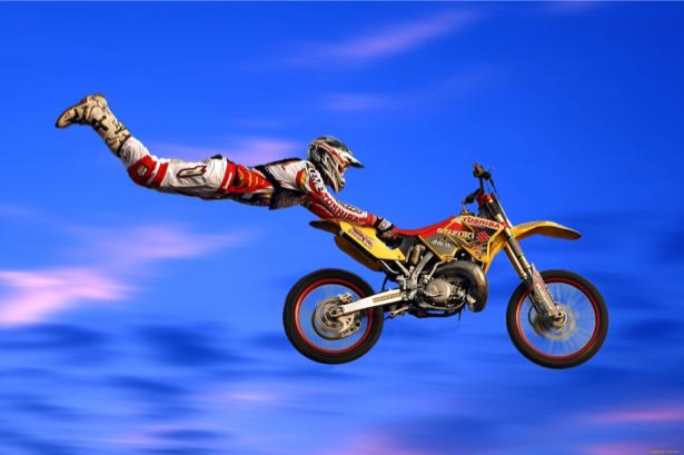 Фотообои каскадёр мотокросс (sport-0000064)