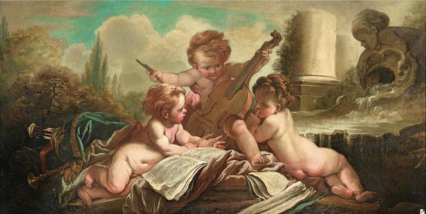 Картина фреска ангелочки амуры фото обои (angel-00034)