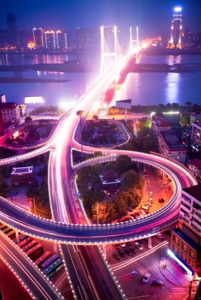 Фотообои Ночной мегаполис, мост, дорога (city-0000039)