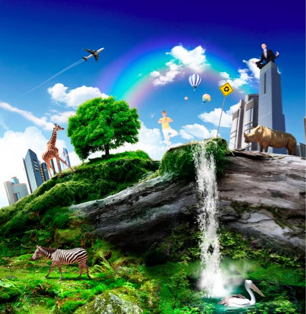 Фотообои фантастический город композиция (fantasy-0000052)