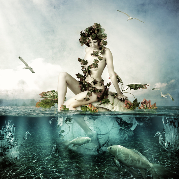 Фотообои для ванны девушка в воде (fantasy-0000118)