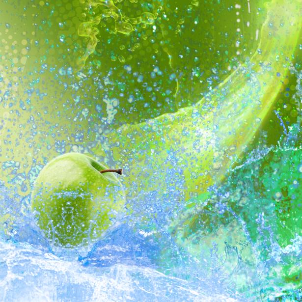 Фотообои кухня в брызгах воды яблоко (food-0000240)