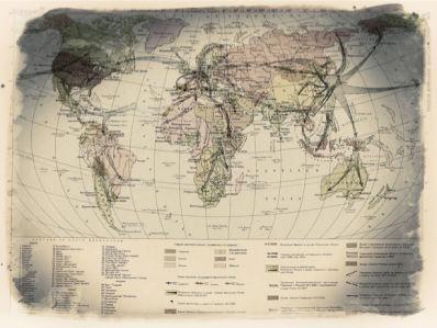 Фотообои карта военных лет ВОВ (map-0000218)