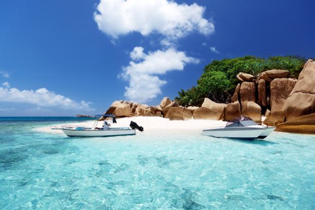 Фотообои море берег остров, лодки (sea-0000274)