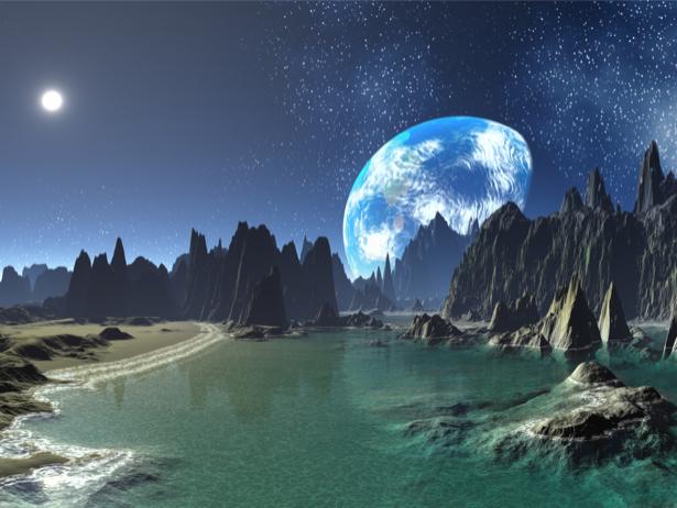 Фотообои в зал закат на планете (space-0000044)