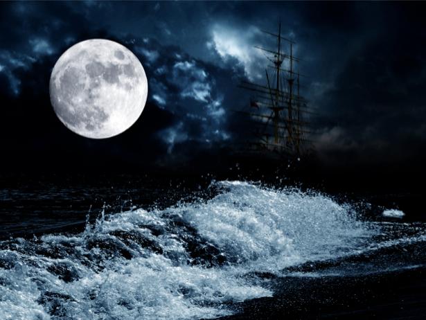 Фотообои парусник в ночном море (transport-0000056)