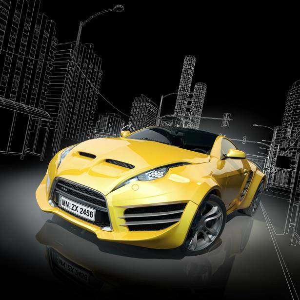 Фотообои желтое спортивное авто (transport-0000188)