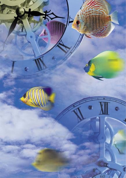 Фотообои небо часы и рыбки время (background-0000101)