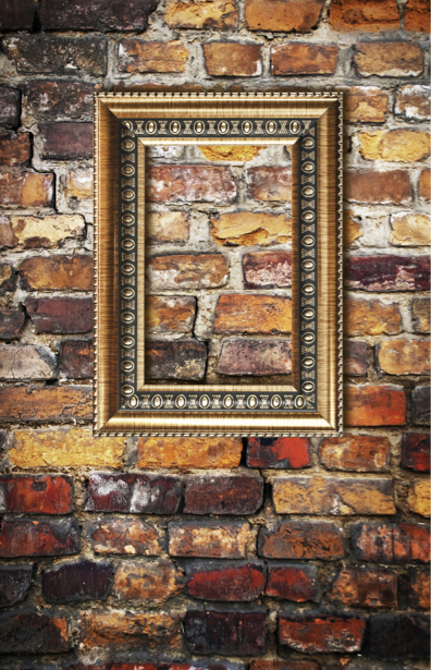 Фотообои стена кирпичная рама на стене (background-0000111)