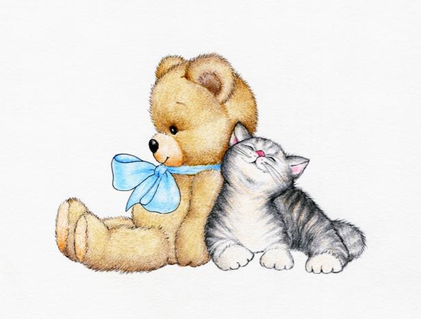мишка Тедди и котенок фотообои (children-0000367)
