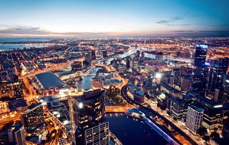 Фотообои с ночным городом Мельбурн (city-1440)