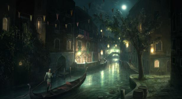Фотообои ночной туманный город (fantasy-0000021)