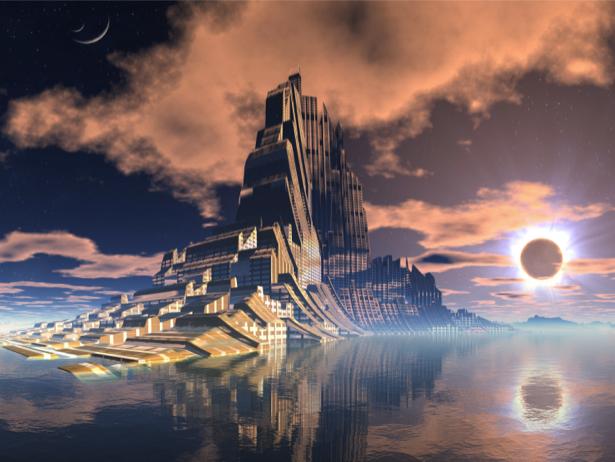 Фотообои фантастический город на воде (fantasy-0000071)
