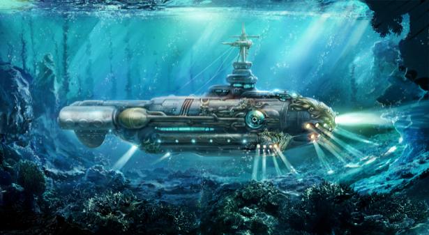 Фотообои подводный корабль (fantasy-0000178)