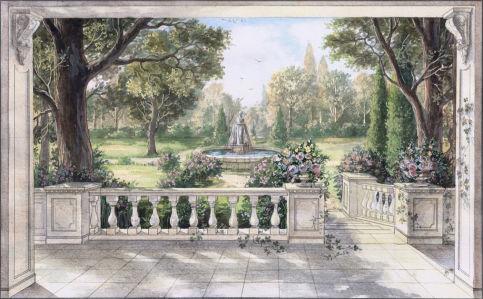 Фотообои Фонтан в саду (ha5)