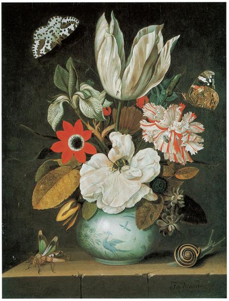 Натюрморт с цветами и бабочками  johannes goedaert (pf-51)