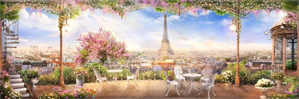 Фотообои цветущая мансарда в Париже (printmaking-0000105)