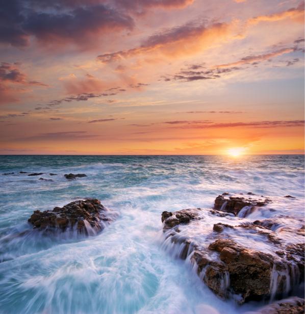 Фотообои море волны розовый закат (sea-0000240)