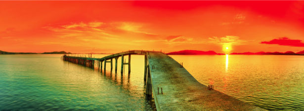 Фотообои море мост на закат (sea-0000335)