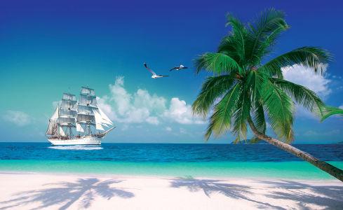 Фотообои Море с корабликом (4.0x2.45)