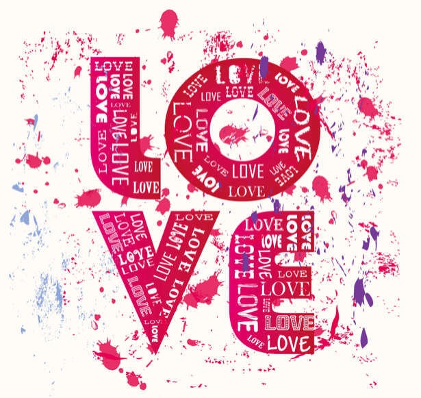 Фотообои Love и брызги краски (background-0000347)