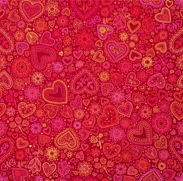 Фотообои фон из сердец и цветов (background-0000353)