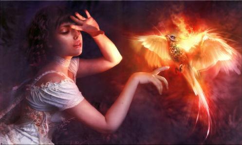 Фотообои девушка и жар-птица (fantasy-0000013)