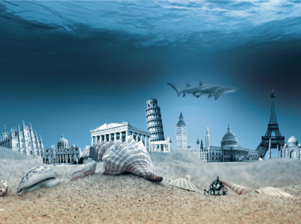 Фотообои архитектура под водой (fantasy-0000082)