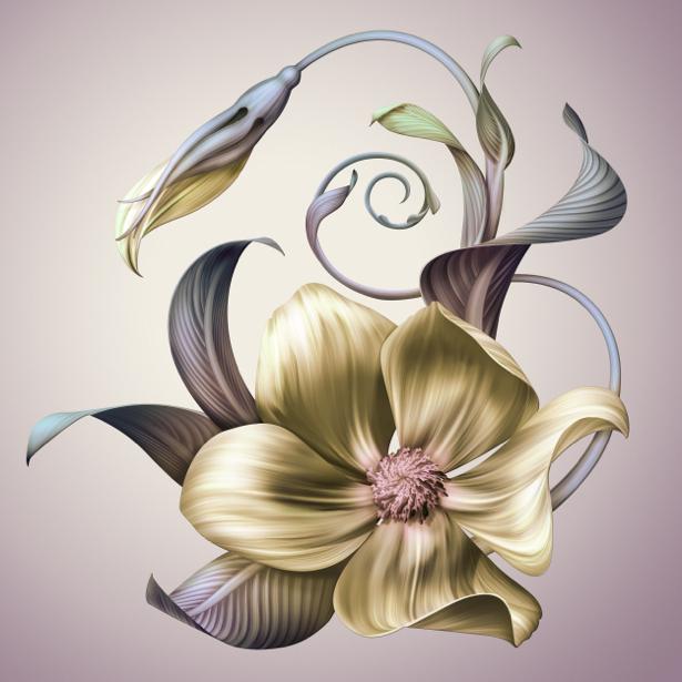 Фото обои цветок рисованная цветущая ветка (flowers-0000622)