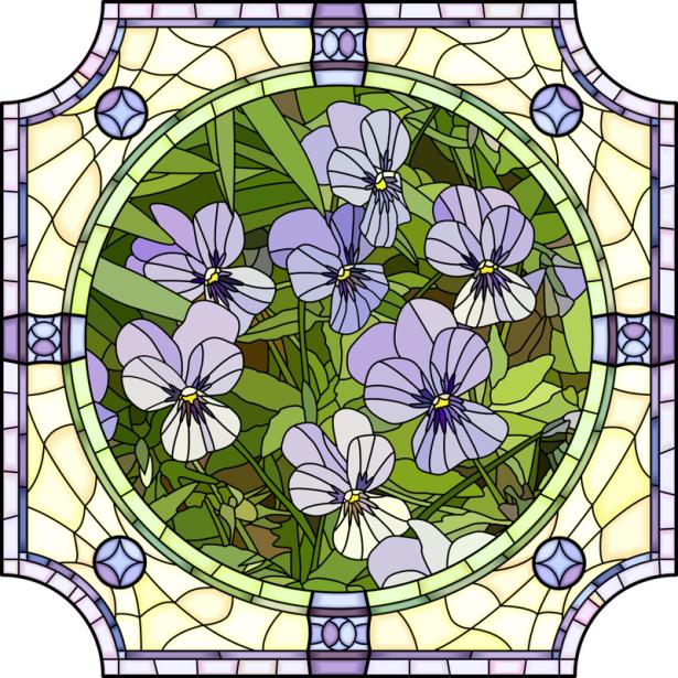 Фото обои цветы Витраж (flowers-0000699)