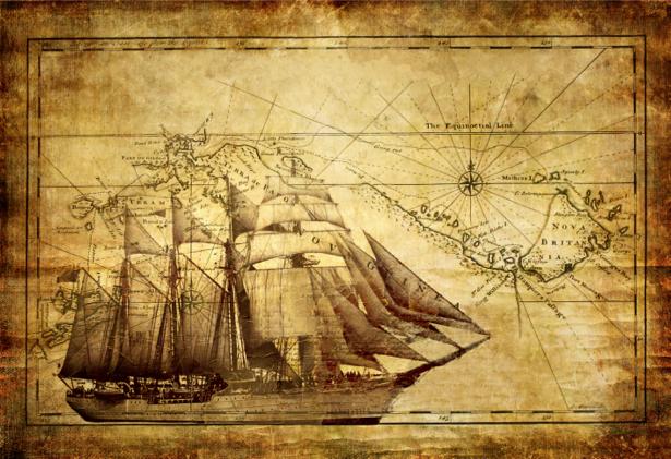 Фотообои доски деревянные корабль на карте (map-0000193)