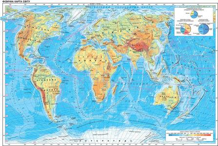 Фотообои Физическая карта мира на украинском (map-229)