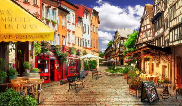 Фотообои городская улочка с кафе (printmaking-0000067)